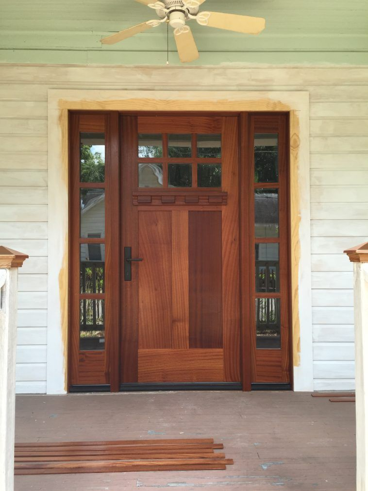 Rustic Brown Lacquered Oak Wood Exterior Door With Mirrored Glass
