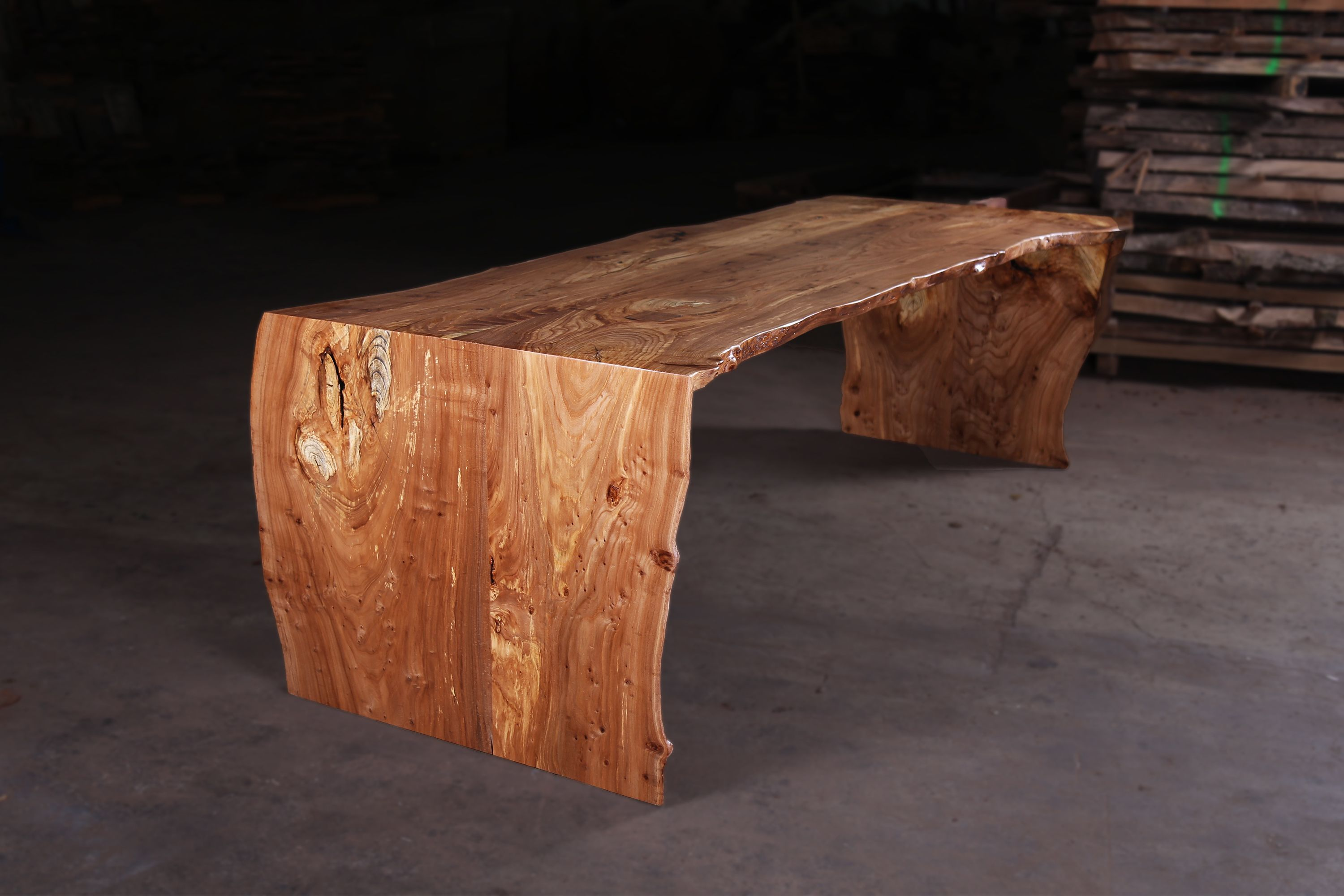 Sustainably Salvaged Elm Handmade Into A 6 Foot Long Live Edge Waterfall Dining Table This Table Also W Handmade Dining Table Furniture Hardwood Furniture
