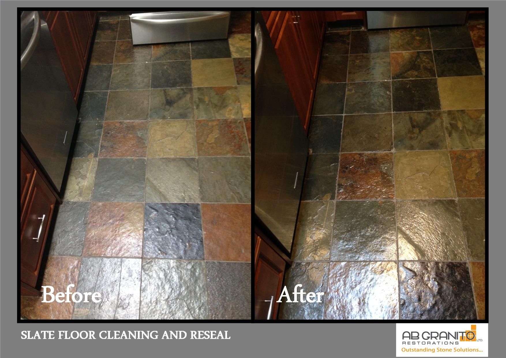 Kitchen slate floor deep cleaning and reseal Stone