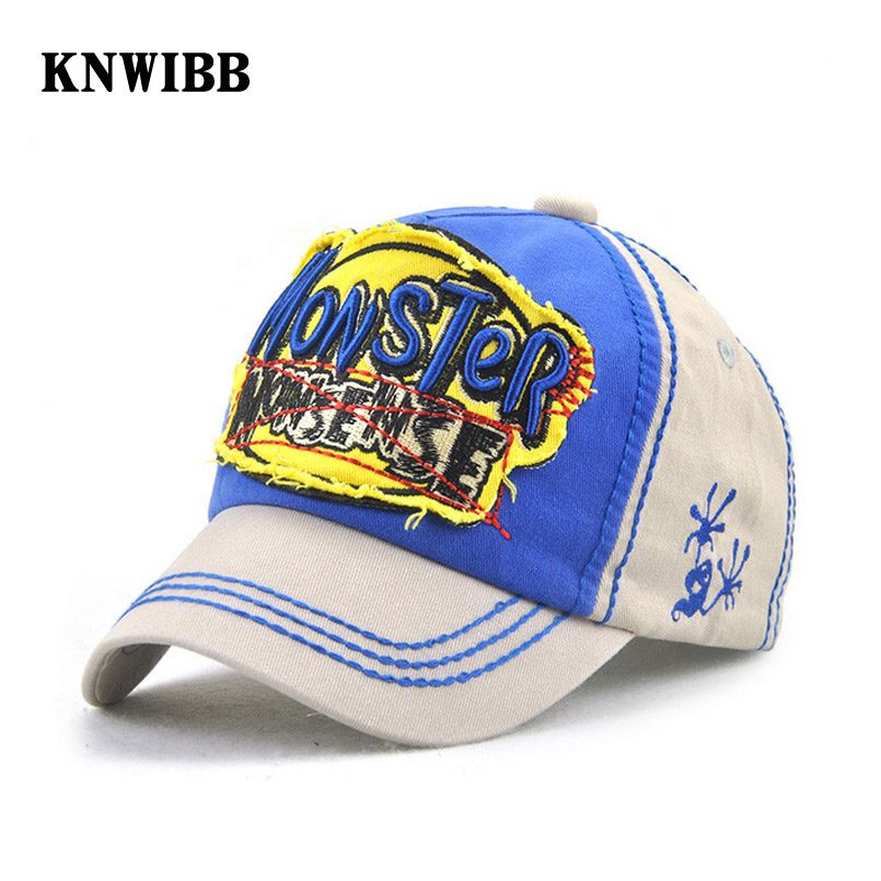 0840b2e556085 KNWIBB baby baseball caps high quality embroidery MONSTER breathable  sunscreen hat cotton multi-color stitching