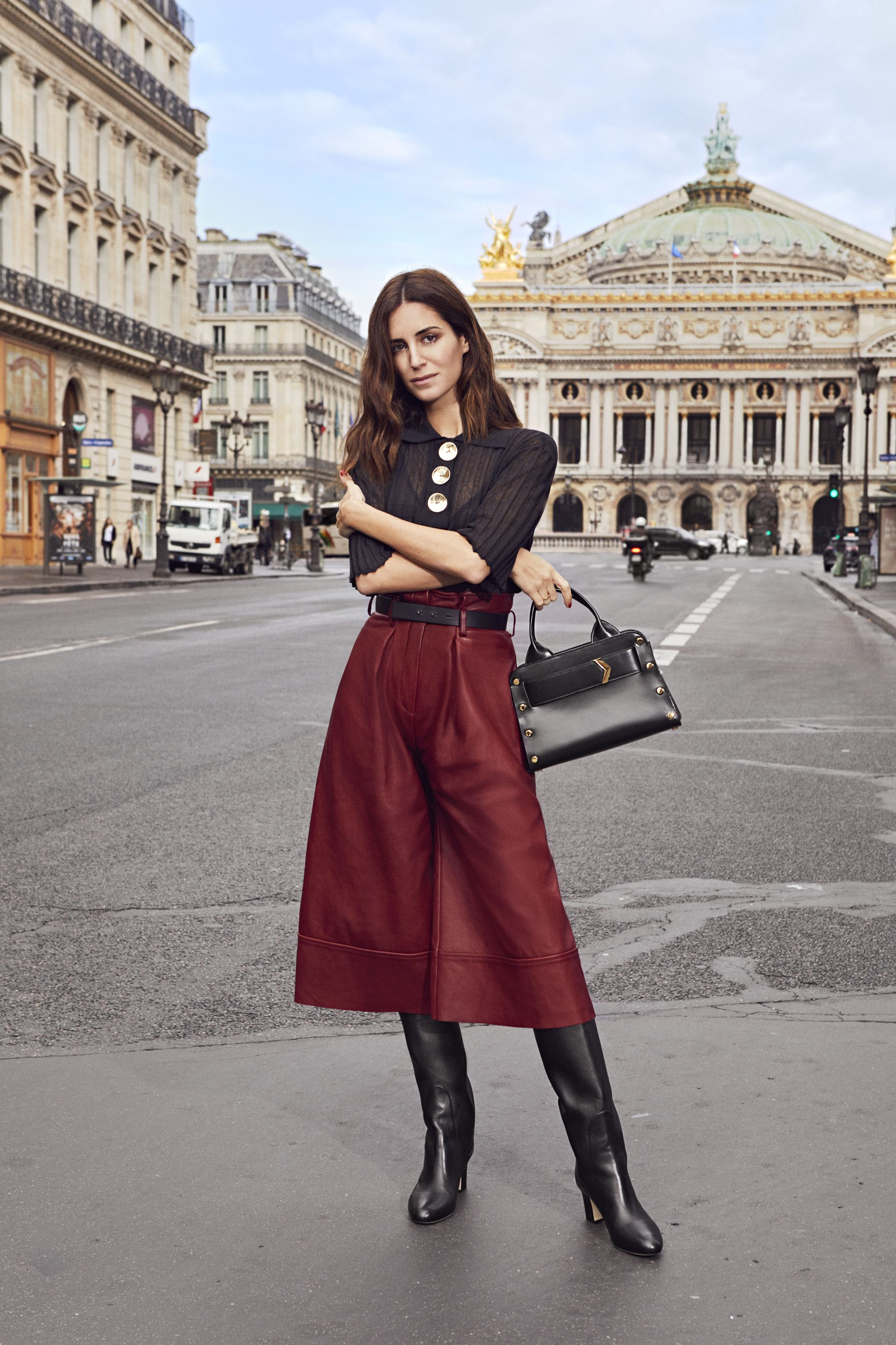 db0a453b481 Gala Gonzalez wearing MINERVA 65 Black Smooth Leather Pull On Boots and  carrying the Jimmy Choo LOCKETT TOTE Black Spazzolato Leather Tote Bag
