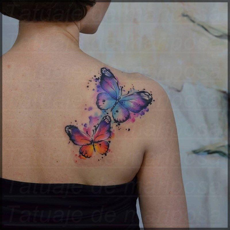19 Tatuajes de mariposas en la espalda