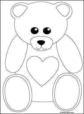 This is a bear coloring page available FREE on Madebyteachers.com.  Great for Valentine's Day.