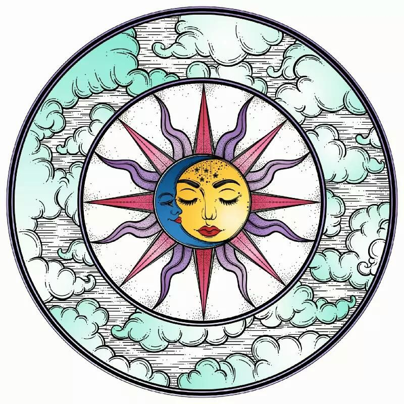 Recolor Vintage art prints, Moon coloring pages, Sun drawing