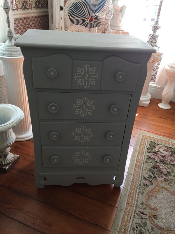 Maple Dresser painted in Aged gray chalk paint with raised