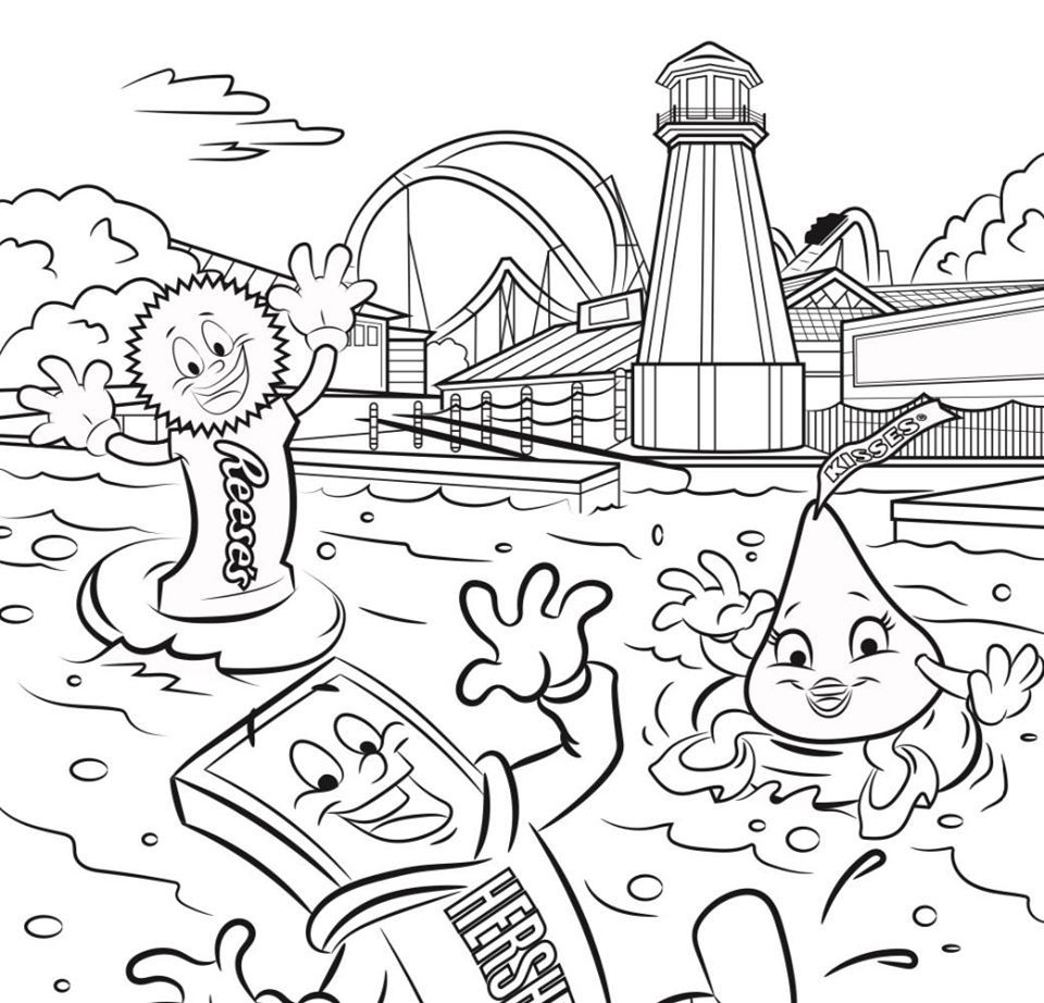 Hersheypark Characters At The Boardwalk Coloring Page Coloring Pages Character Color