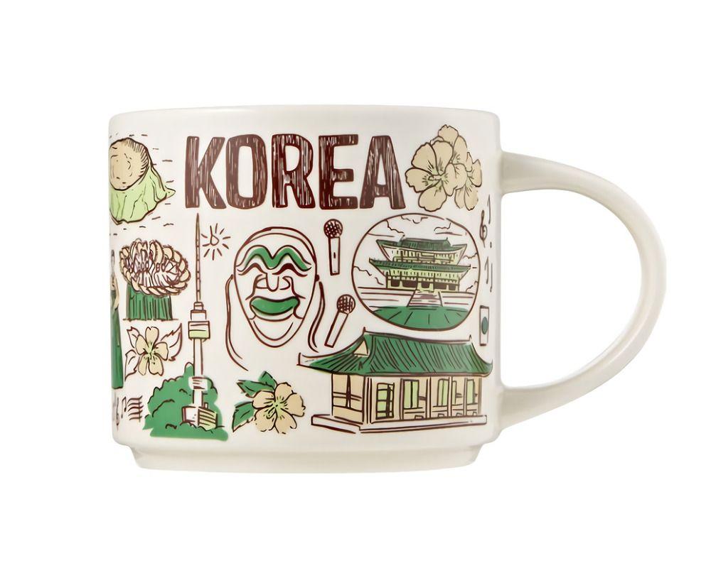 Starbucks 2020 New Bean There Korea Series Mug Coffee Cup 414ml Hot Cold Gift Starbucks Starbucks Mugs Advertising Collectibles