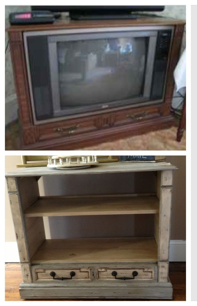 Upcycled tv console/cabinet into a bookcase/tv stand with ...