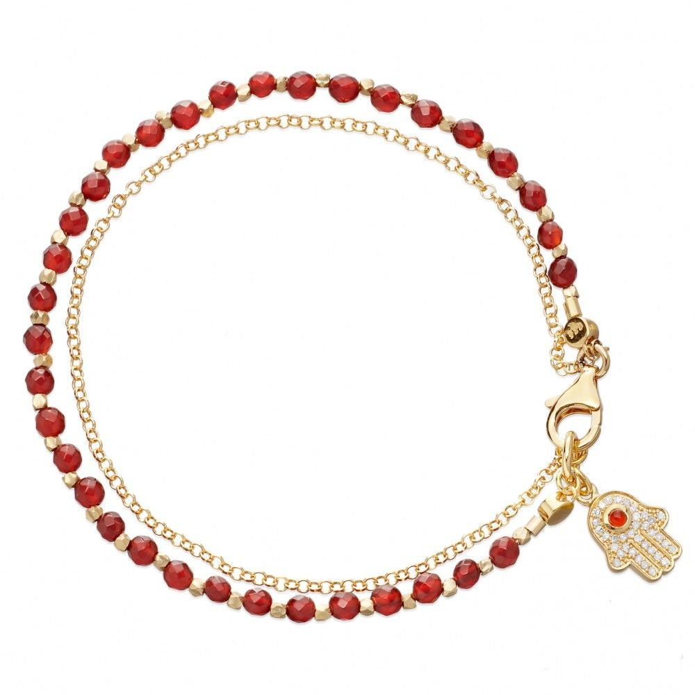 24ct Yellow Gold Vermeil Chain Wrapped Bracelet With Faceted Red Agate And  Hamsa Sapphire Micropave Charm