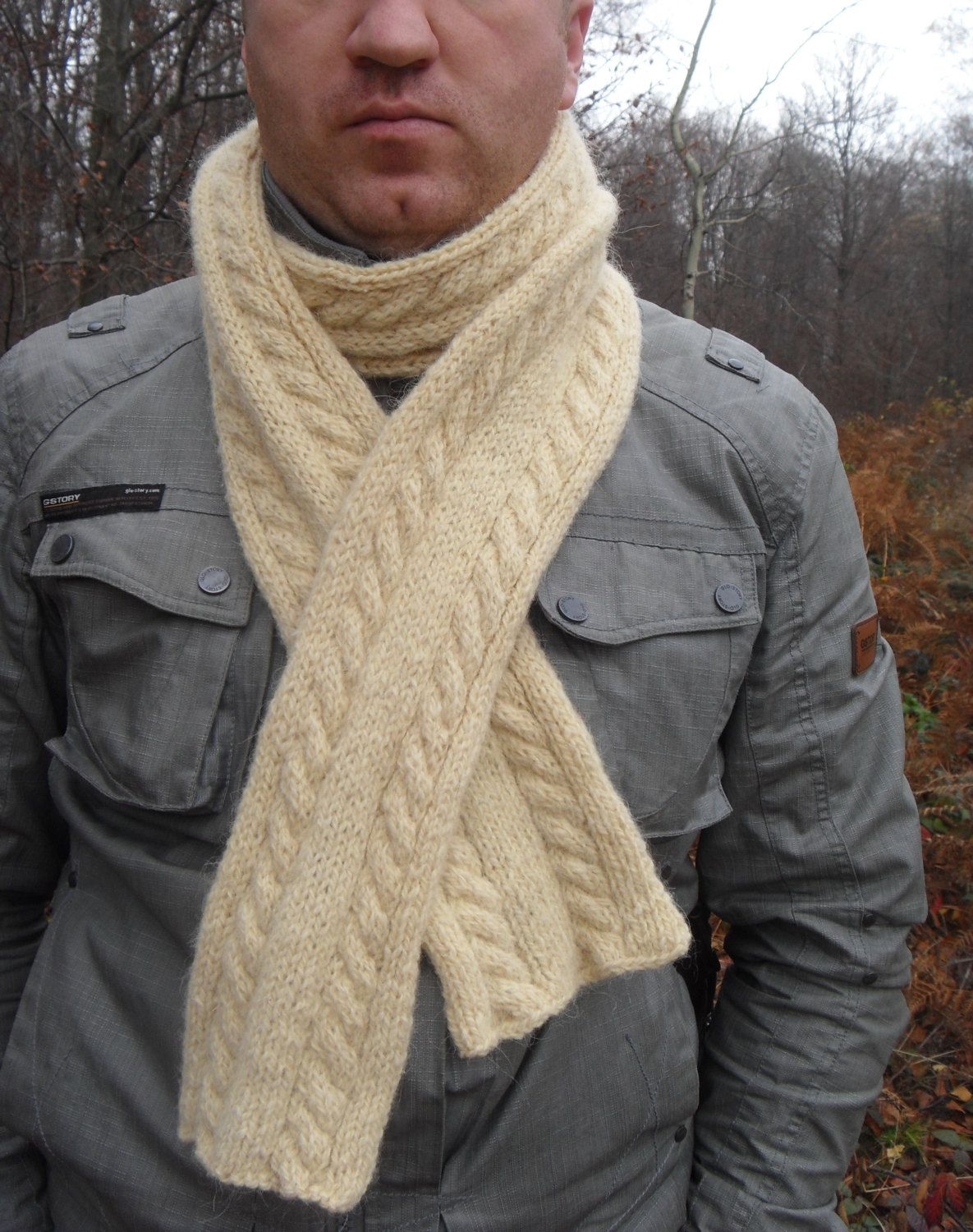 Knit Scarf Men Scarf Mens Scarf Knitting Knit Shawl Mens Cowl Extra ...