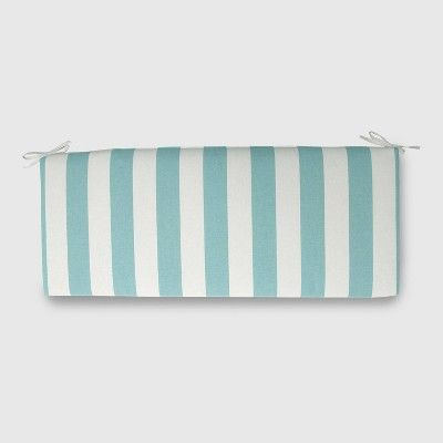 Cabana Stripe Outdoor Bench Cushion Turquoise Threshold Bench Cushions Patio Bench Cushions Outdoor Cushions