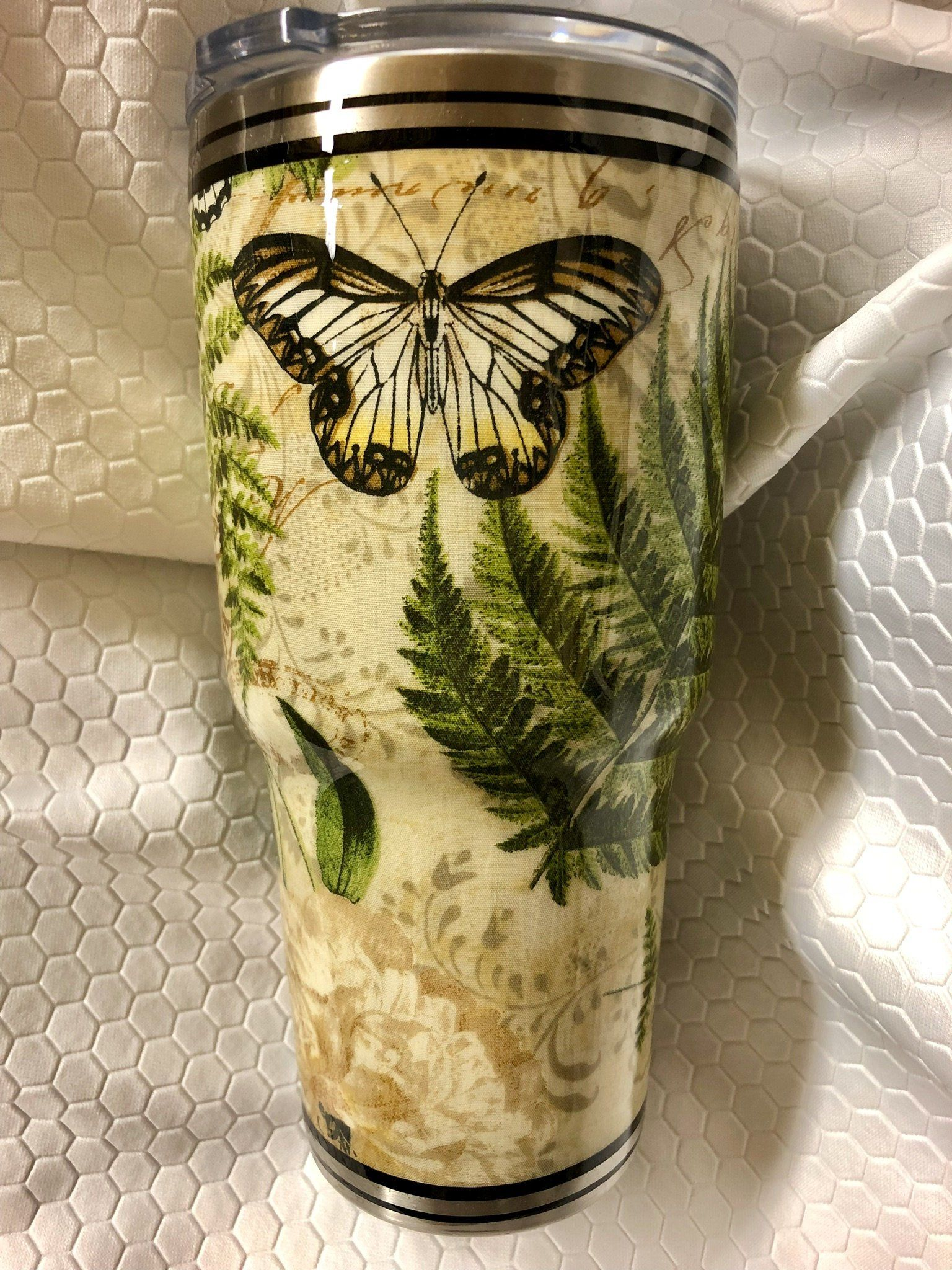Butterfly inspired 30 oz stainless steel epoxied tumbler