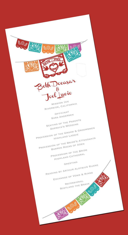 Papel Picado FAN SHAPED Fiesta Wedding Program - I design - You ...