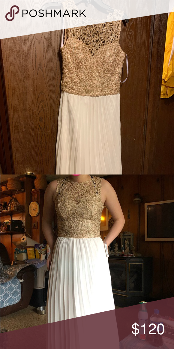 bf111f08ac prom dress. gold lace-type top. white bottom. basically brand new. willing  to lower the price. Dresses Prom
