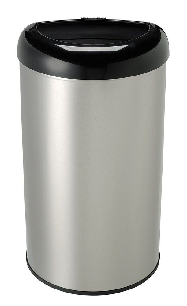 13 Gallon Trash Can Stainless Steel Open Top Kitchen Home Office