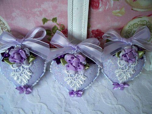 Trio of 3 Lavender Purple Victorian Glittered Embellished Glass Heart Ornaments | eBay