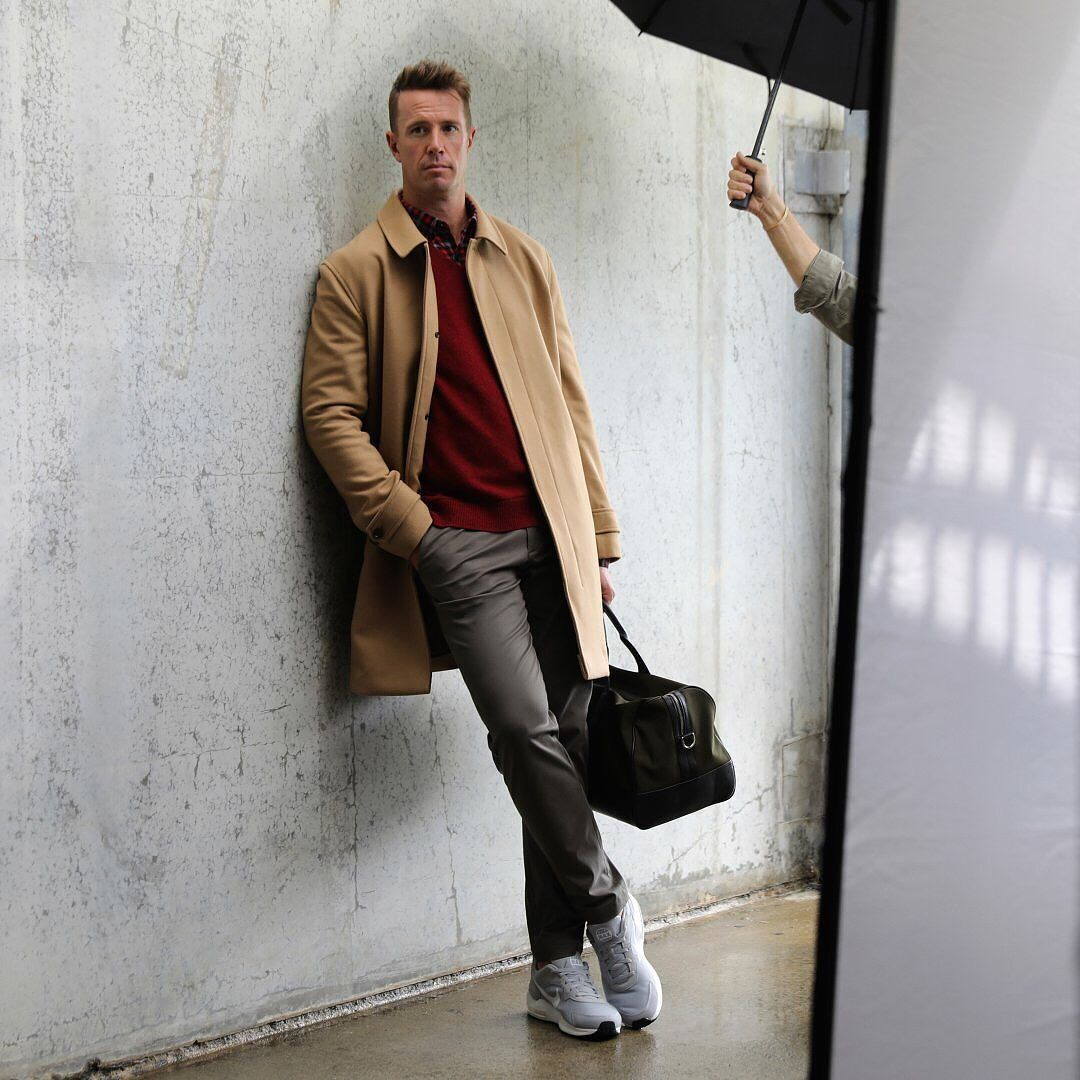Matt Ryan Keeping His Style Games Strong In His Latest Br Mens Picks Shop The Italian Melton Wool Blend Car Coat And Mo Refined Clothing Mens Outfits Geek Guy