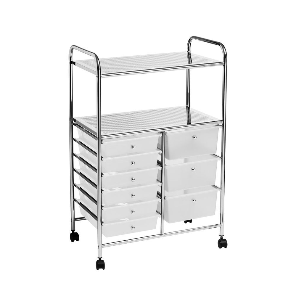 Trolley 2 Shelf 9 White Plastic Drawers With Wheels Home Office Storage Plastic Drawers Modern Storage Cabinet