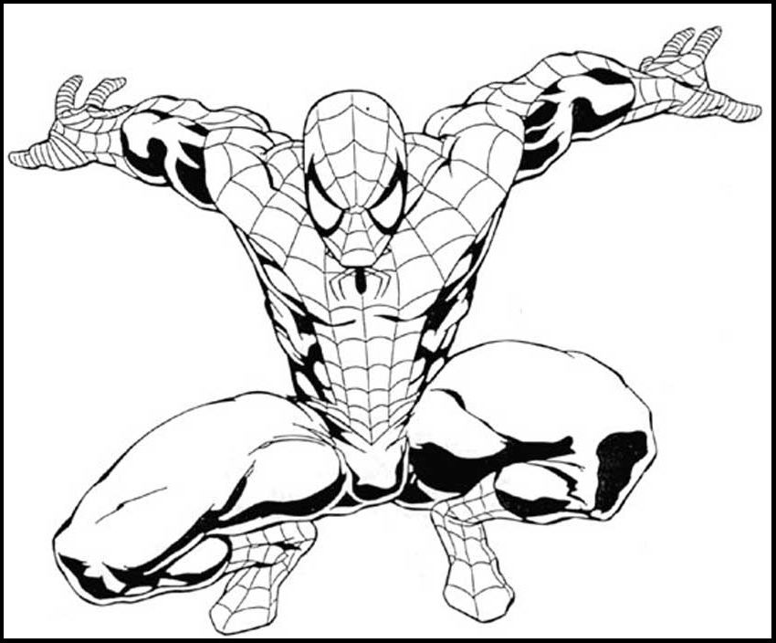 Landing Perfect For Spiderman coloring picture for kids