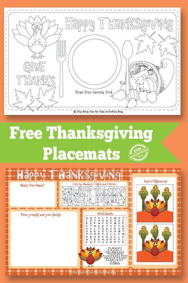Thanksgiving Placemat {Free Kids Printable}