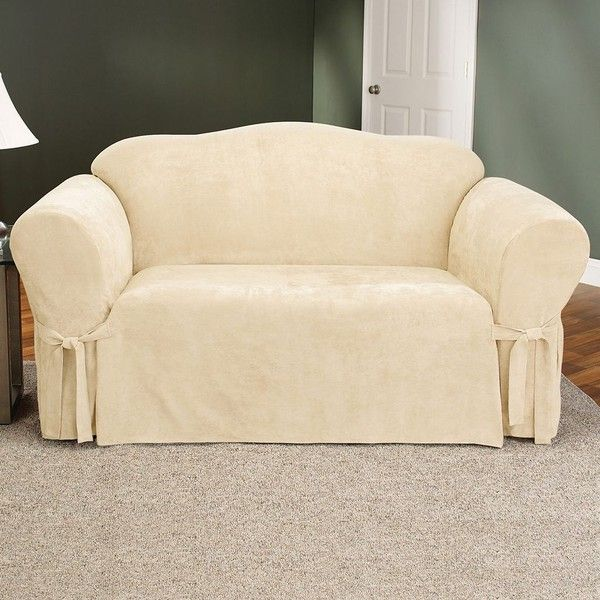 sure fit fauxsuede loveseat slipcover 84 liked on polyvore featuring home