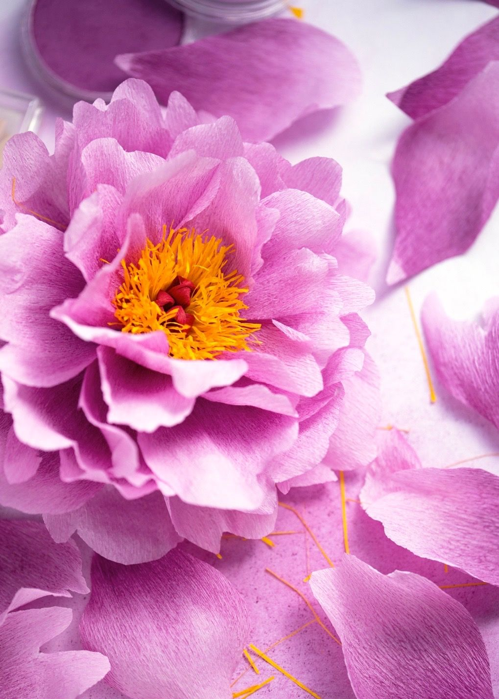 Crepe Paper Peony Handmade And Photographed By Papetal Author Of