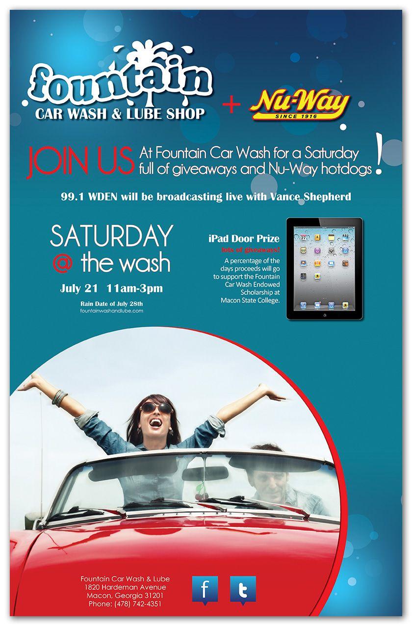 Fountain Car Wash Poster.Graphic Design. Marketing. Car