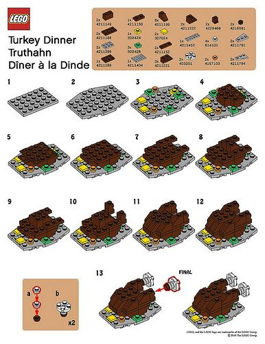 Lego Mmmb November 10 Turkey Dinner Instructions Lego