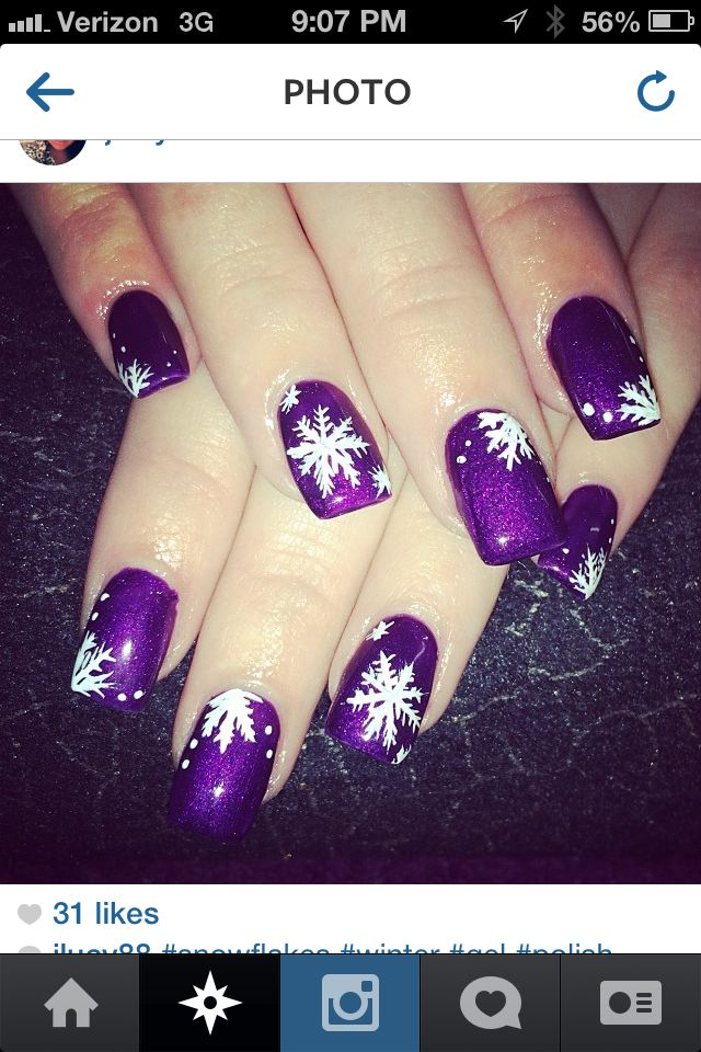 Purple Christmas nails