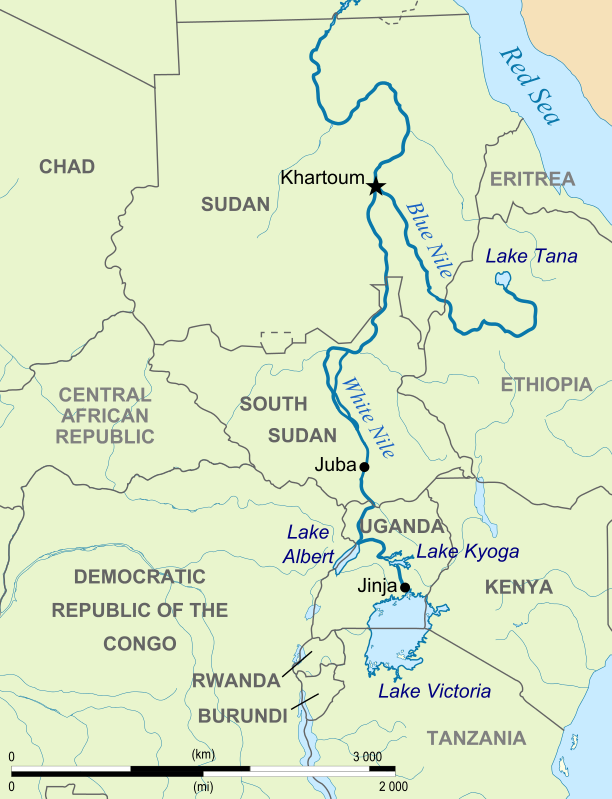 Blue Nile River In Africa Map.A Map Showing The White Nile And The Blue Nile In East