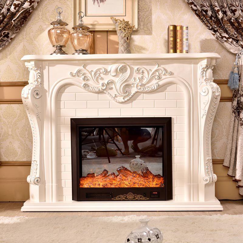 AuBergewohnlich Kamin Dekoration Schrank Flamme Holz Kaminsims W150cm Rahmen Mit  Elektrokamineinsatz Heizung LED Optische Künstliche Flamme