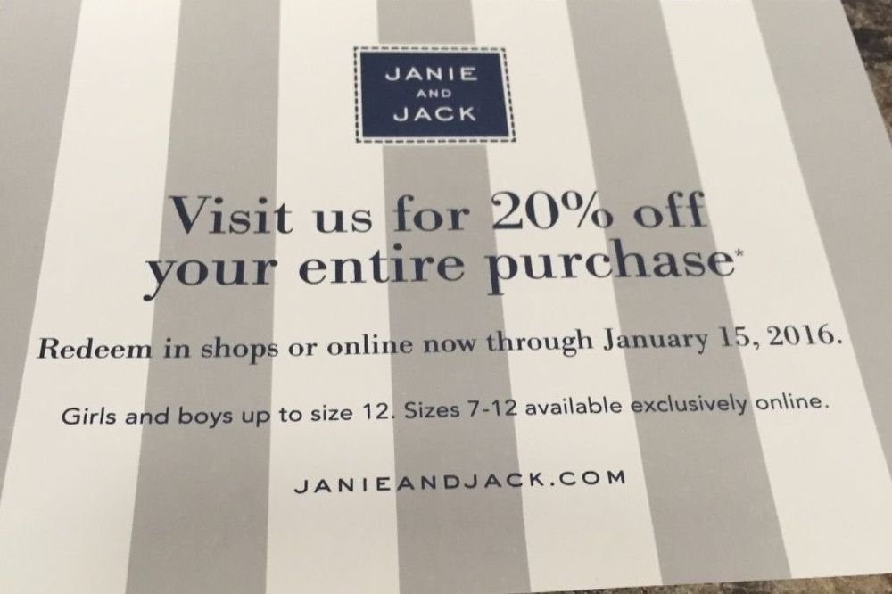 photo regarding Janie and Jack Printable Coupons identify Janie and Jack 20% off Finish Order Coupon Coupon codes