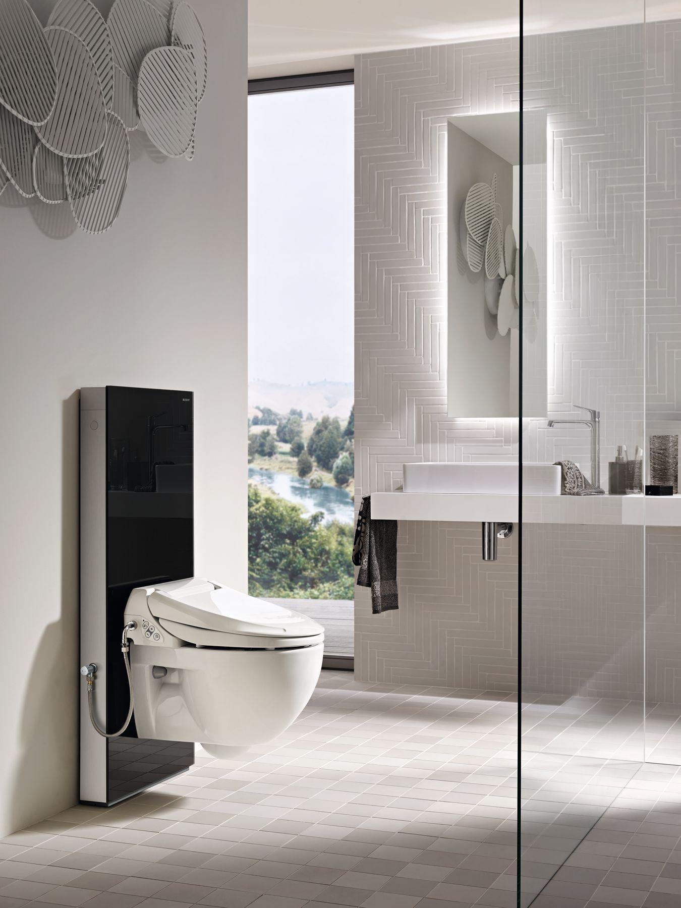 Geberit Aquaclean 4000 With Geberit Sanitary Module Monolith Showertoilet Design Badkamer Vrijstaande Douche Badkamer