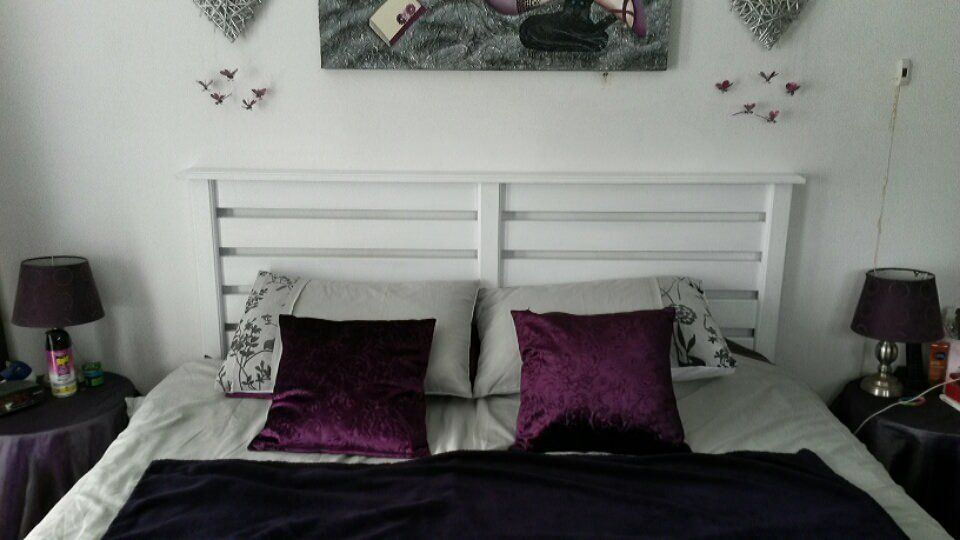 Headboard White Double Bed Made From Pallet Wood 7 X 100mm
