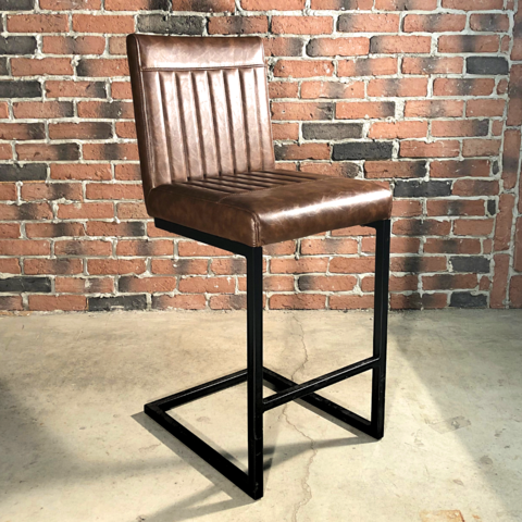 Tabouret De Bar Industriel Cuir Marron Vintage Meuble Wazo Grey Leather Dining Chair Velvet Dining Chairs