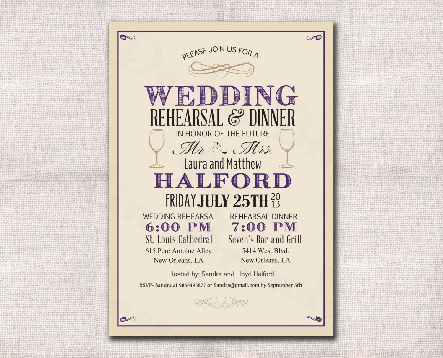Make Your Own Wedding Rehearsal Invitations Free Dinner