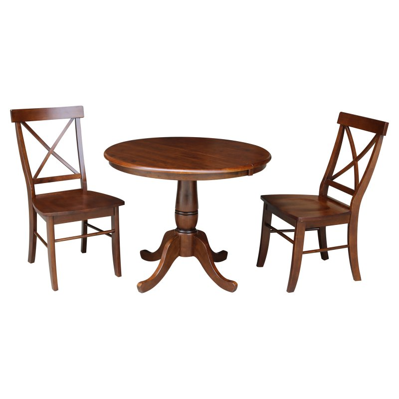 International Concepts 36 In 3 Piece Pedestal Dining Table Set