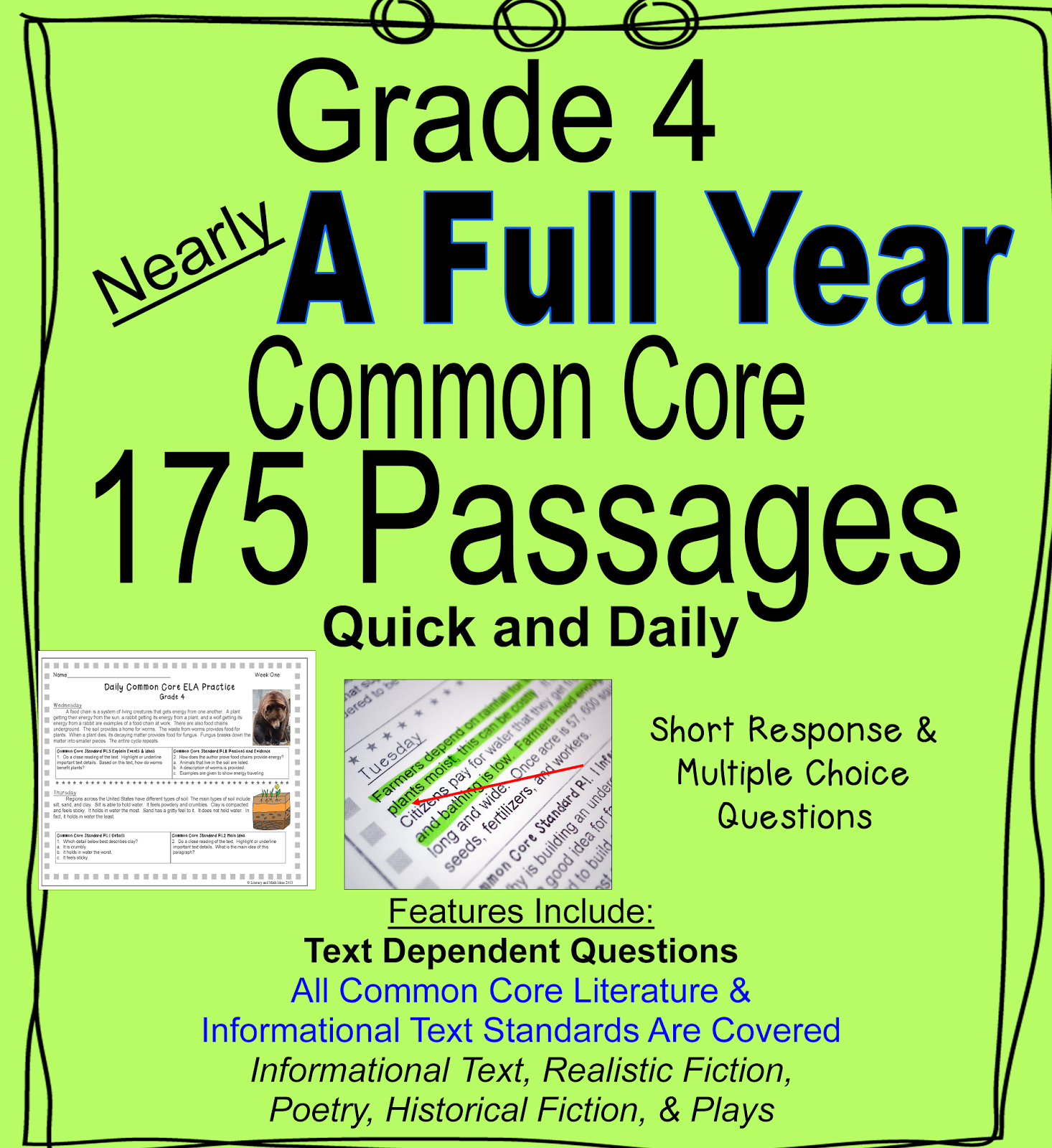 Nearly A Full Year Of Daily Common Core Of Grade 4 Reading