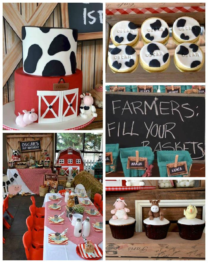 Rustic Barnyard 1st Birthday Party With Images Farmer Birthday