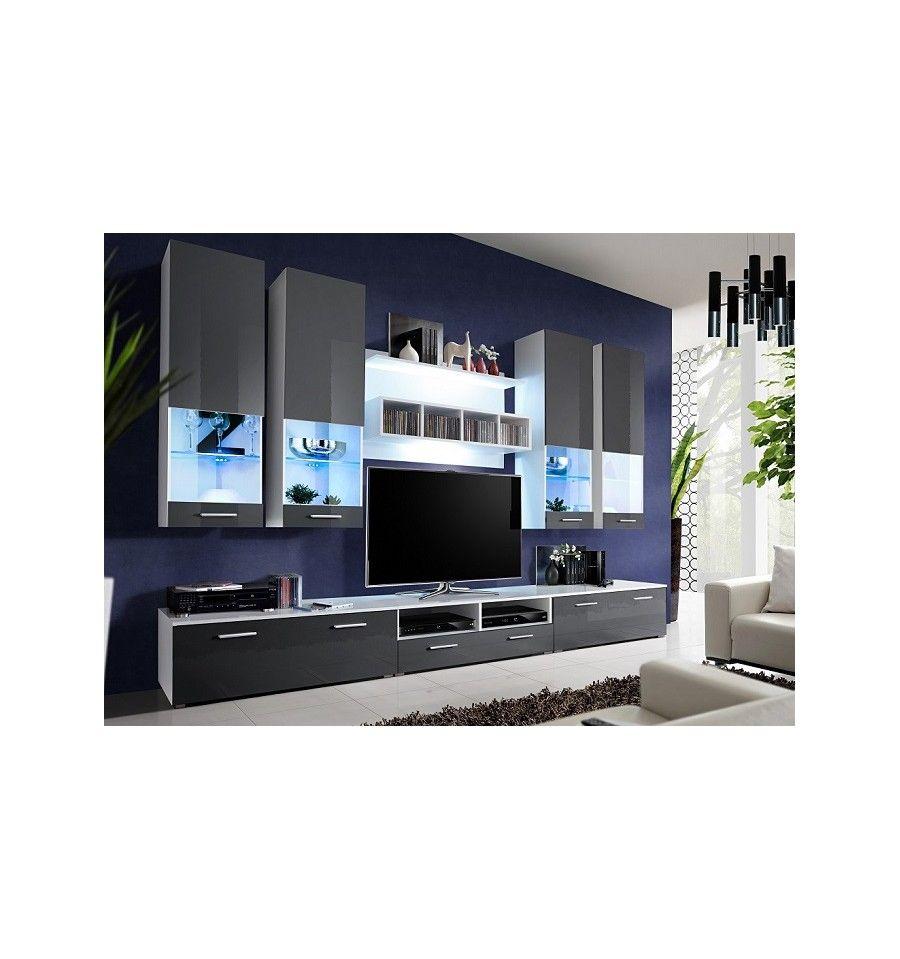 Ensemble meuble tv bonifacio gris d coration s jour for Meuble sejour gris