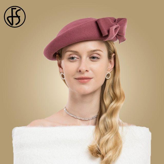 9d0ad9e9b97 FS Women Derby Fascinators Hat Elegant Winter Pink Black Red Ladies Wool  Felt Wedding Pillbox Hats Girl Bow Church Dress Fedoras