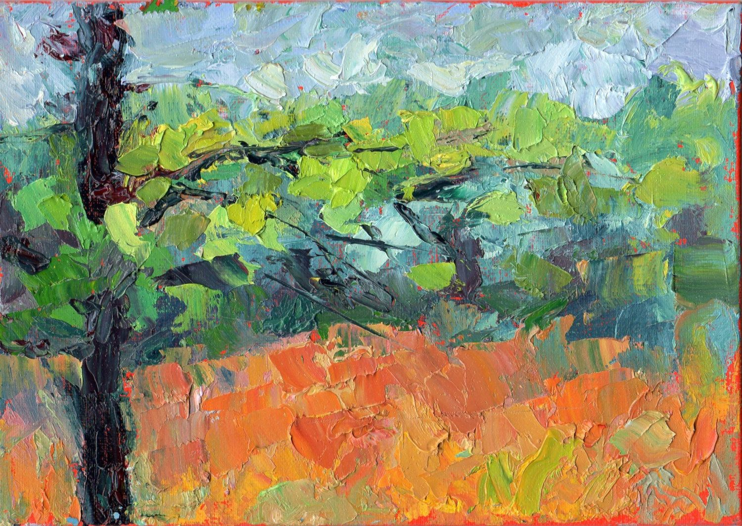 Colorful original small oil painting abstract landscape plein air ...