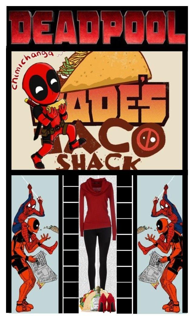 """DeadPool: Wade's Taco Shack (Chimichangas)"" by ilovehedgehogs1029 ❤ liked on Polyvore featuring Oris, Dr. Denim, Yves Saint Laurent, comic, tacos, deadpool, wadewilson, chimichanga, fandom and marvel"