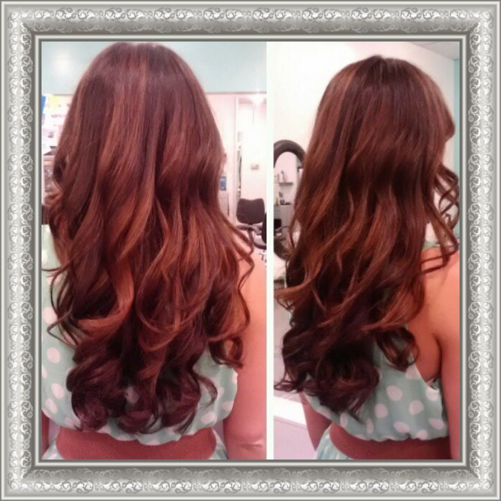 Chocolate Brown Hair Red Highlights Cherry Cola Hair Color Salon