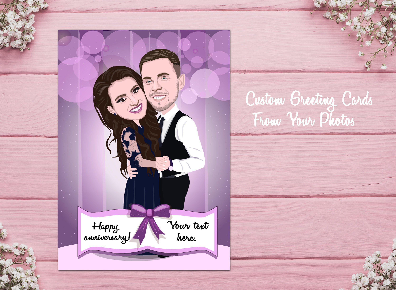 Custom Couple Card, Couple Caricature, Couple Portrait, Wedding