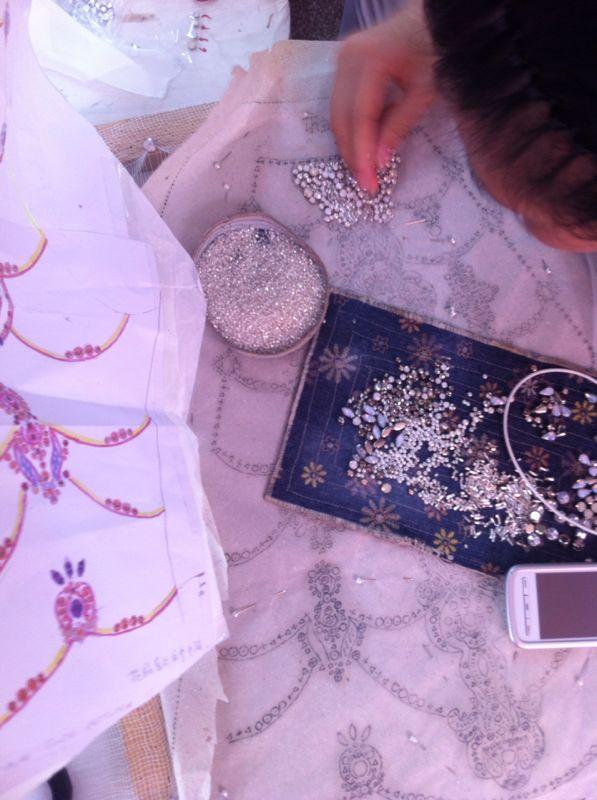 Hand beading on the Catherine Deane |Tallulah gown #bridal #weddingdress