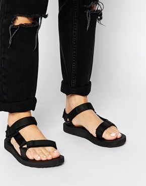 Teva Original Universal Old Lizard Red Flat Sandals at asos.com
