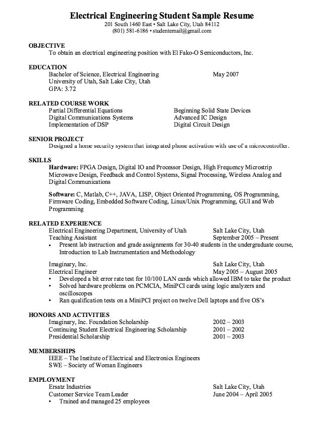 Electrical Engineering Student Resume Sample  Http