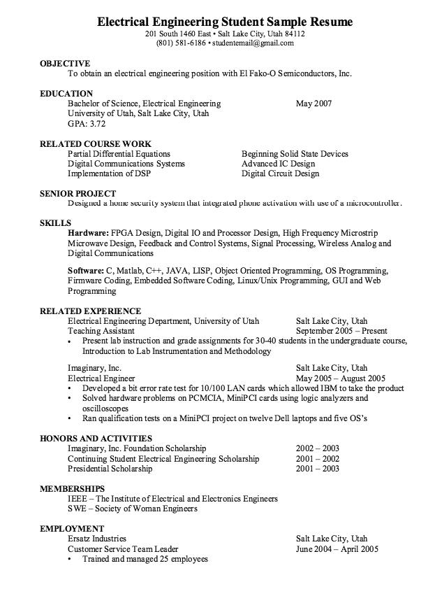 Electrical Engineering Student Resume Sample Resumesdesign Engineering Resume Student Resume Free Resume Samples