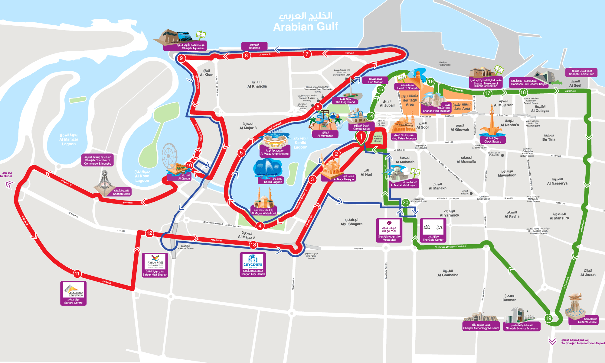 City Sightseeing Sharjah Bus Route Map UAE Places to